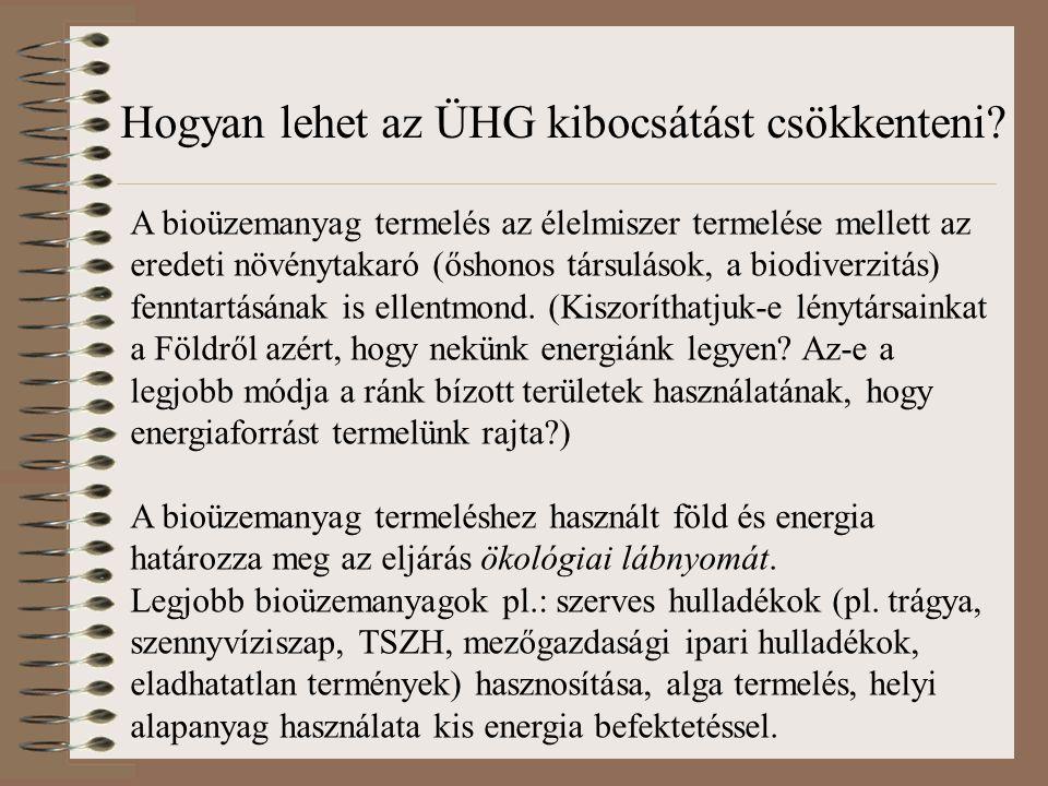 A bioüzemanyag termelés az élelmiszer termelése mellett az eredeti növénytakaró (őshonos társulások, a biodiverzitás) fenntartásának is ellentmond. (K