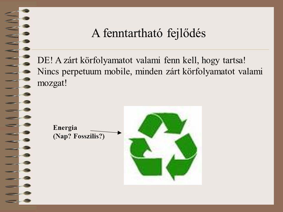 DE! A zárt körfolyamatot valami fenn kell, hogy tartsa! Nincs perpetuum mobile, minden zárt körfolyamatot valami mozgat! Energia (Nap? Fosszilis?) A f