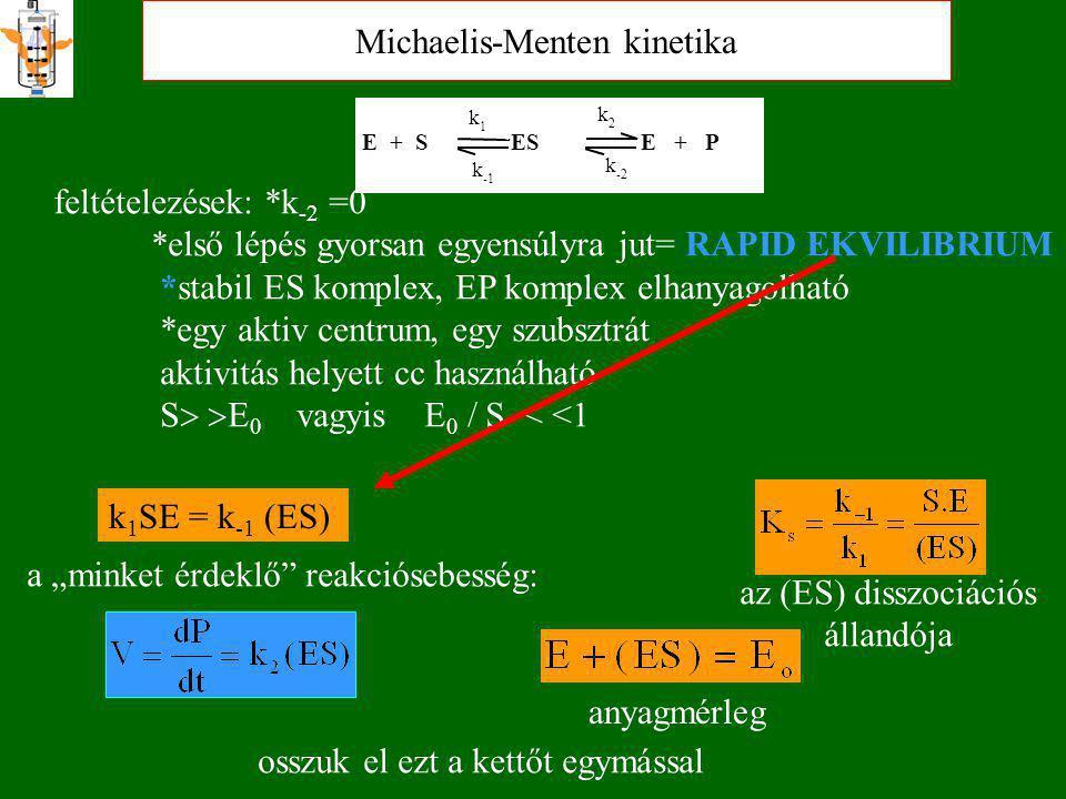 """Michaelis-Menten kinetika E + S ES E + P k 1 k k 2 k -2 feltételezések: *k -2 =0 *első lépés gyorsan egyensúlyra jut= RAPID EKVILIBRIUM *stabil ES komplex, EP komplex elhanyagolható *egy aktiv centrum, egy szubsztrát aktivitás helyett cc használható S   E 0 vagyis E 0 / S < <1 k 1 SE = k -1 (ES) az (ES) disszociációs állandója a """"minket érdeklő reakciósebesség: anyagmérleg osszuk el ezt a kettőt egymással"""