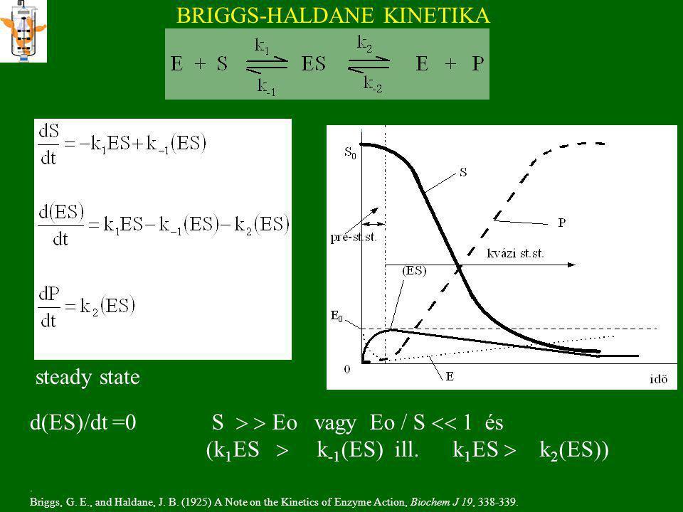 BRIGGS-HALDANE KINETIKA S   Eo vagy Eo / S  1 és (k 1 ES  k -1 (ES) ill.