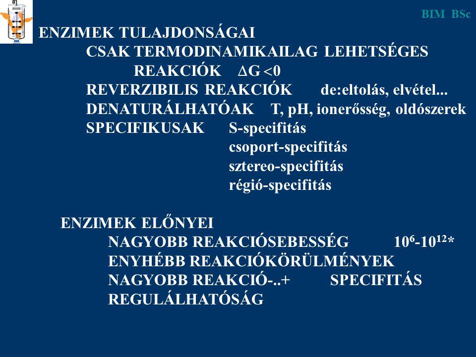 ENZIMEK ELŐNYEI NAGYOBB REAKCIÓSEBESSÉG10 6 -10 12 * ENYHÉBB REAKCIÓKÖRÜLMÉNYEK NAGYOBB REAKCIÓ-..+ SPECIFITÁS REGULÁLHATÓSÁG ENZIMEK TULAJDONSÁGAI CS