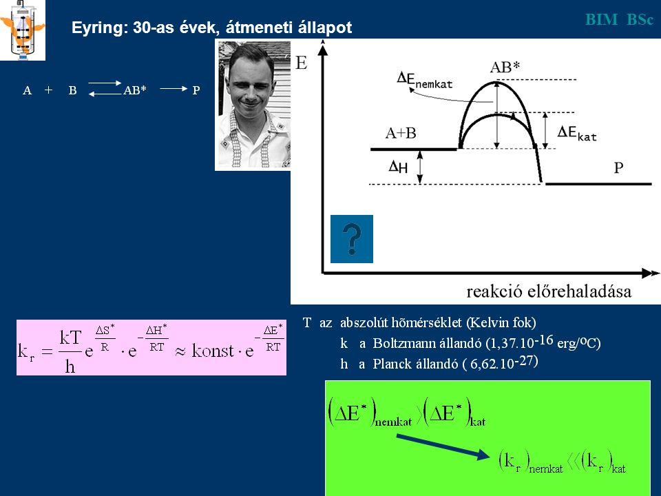 Egyszerű és enzimes katalízis összehasonlítása ReakcióKatalizátor Aktiválási energia kJ/mol k rel 25 o C H 2 O 2 → H 2 O + 1/2O 2 - I -1 kataláz 75 56,5 26,8 1 2,1.10 3 3,5.10 8 Kazein +nH 2 O →(n+1)peptid H + tripszin 86 50 1 2,1.10 6 Szaharóz+H 2 O → glükóz+fruktóz H + invertáz 107 46 1 5,6.10 10 Linolénsav + O 2 → linolénsavperoxid - Cu 2+ lipoxigenáz 150-270 30-50 16,7 1 ~10 2 ~ 10 7 BIM BSc