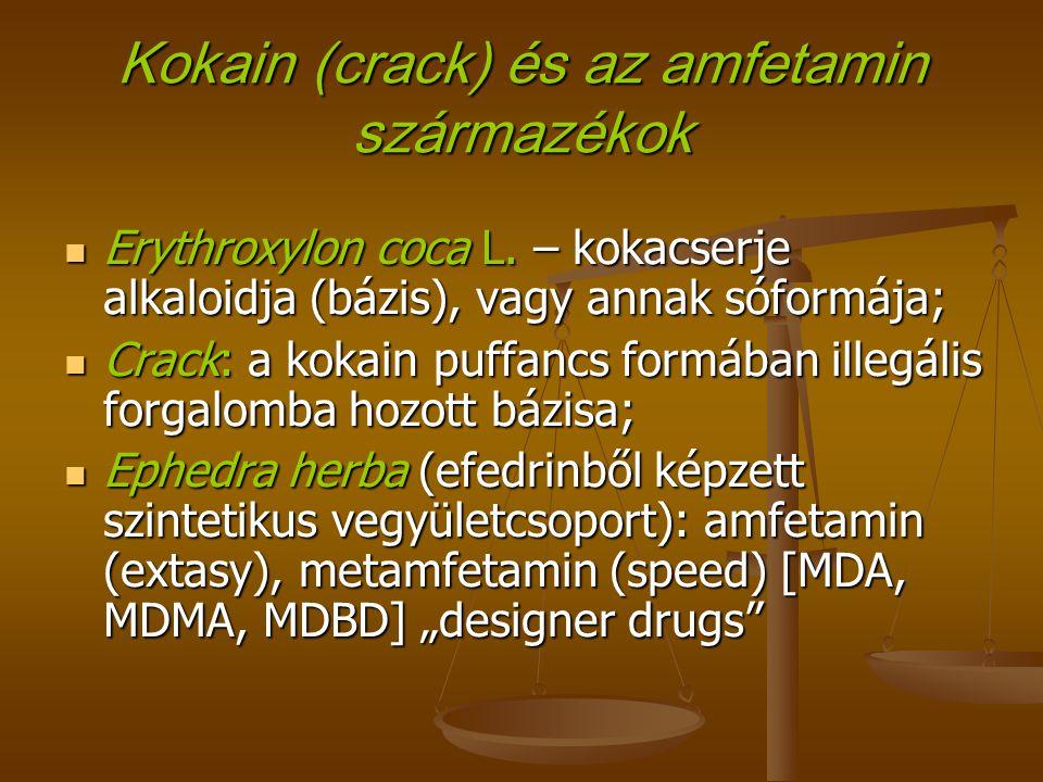 Kokain (crack) és az amfetamin származékok Erythroxylon coca L.