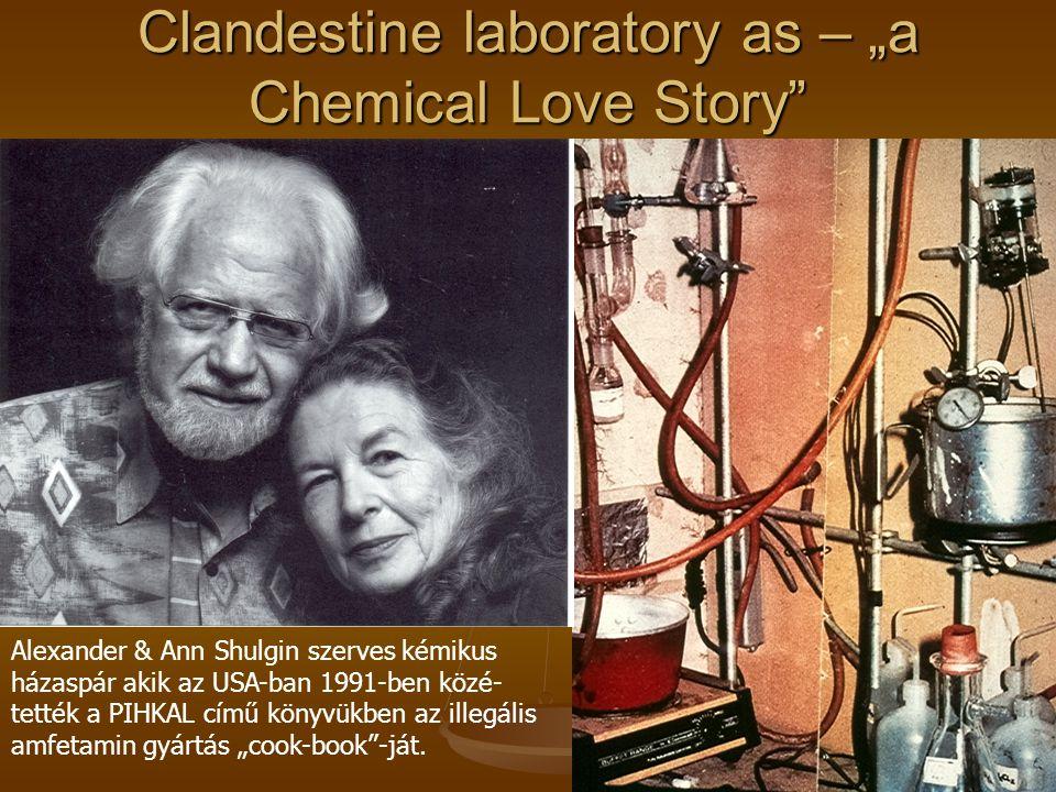 """Clandestine laboratory as – """"a Chemical Love Story Alexander & Ann Shulgin szerves kémikus házaspár akik az USA-ban 1991-ben közé- tették a PIHKAL című könyvükben az illegális amfetamin gyártás """"cook-book -ját."""
