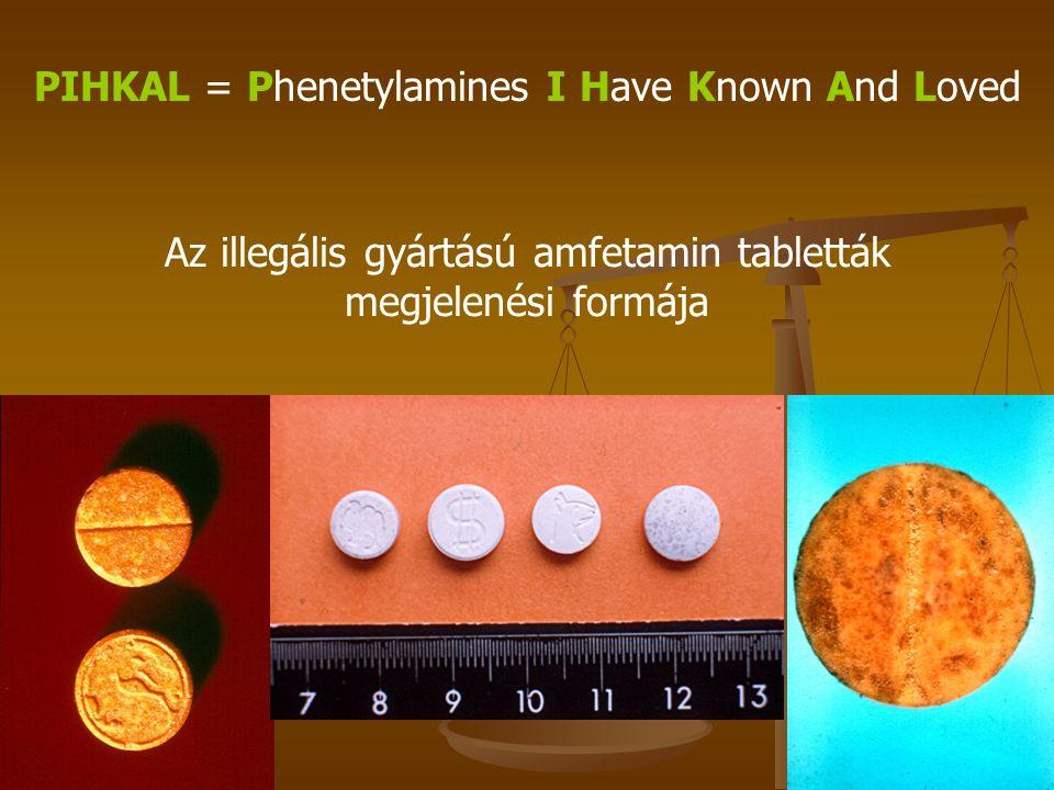PIHKAL = Phenetylamines I Have Known And Loved Az illegális gyártású amfetamin tabletták megjelenési formája