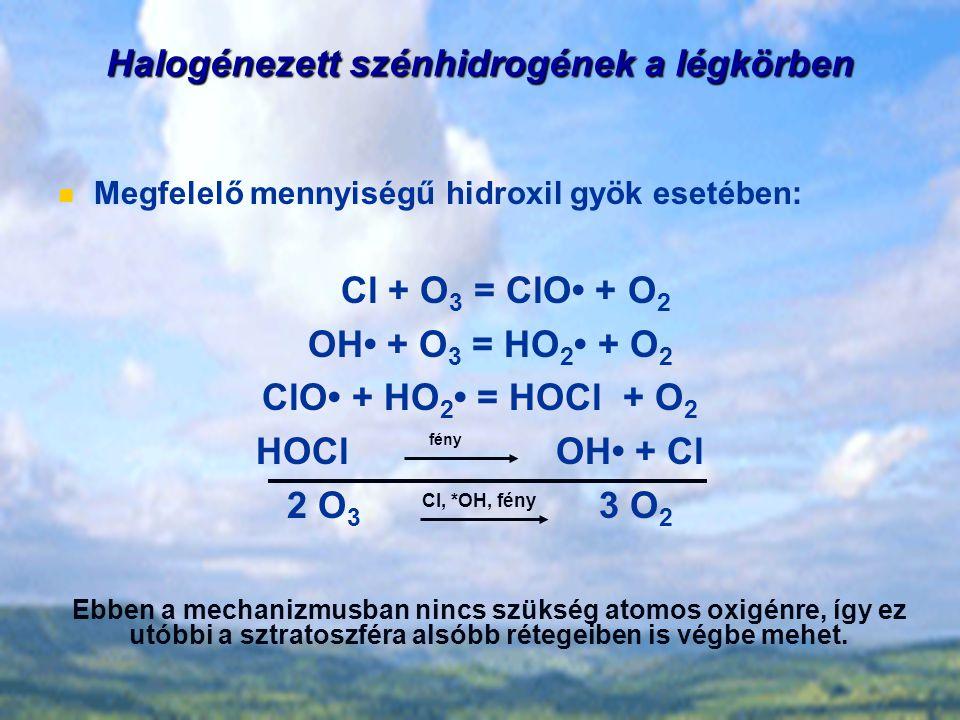 Halogénezett szénhidrogének a légkörben Megfelelő mennyiségű hidroxil gyök esetében: Cl + O 3 = ClO + O 2 OH + O 3 = HO 2 + O 2 ClO + HO 2 = HOCl + O 2 HOCl OH + Cl 2 O 3 3 O 2 Ebben a mechanizmusban nincs szükség atomos oxigénre, így ez utóbbi a sztratoszféra alsóbb rétegeiben is végbe mehet.