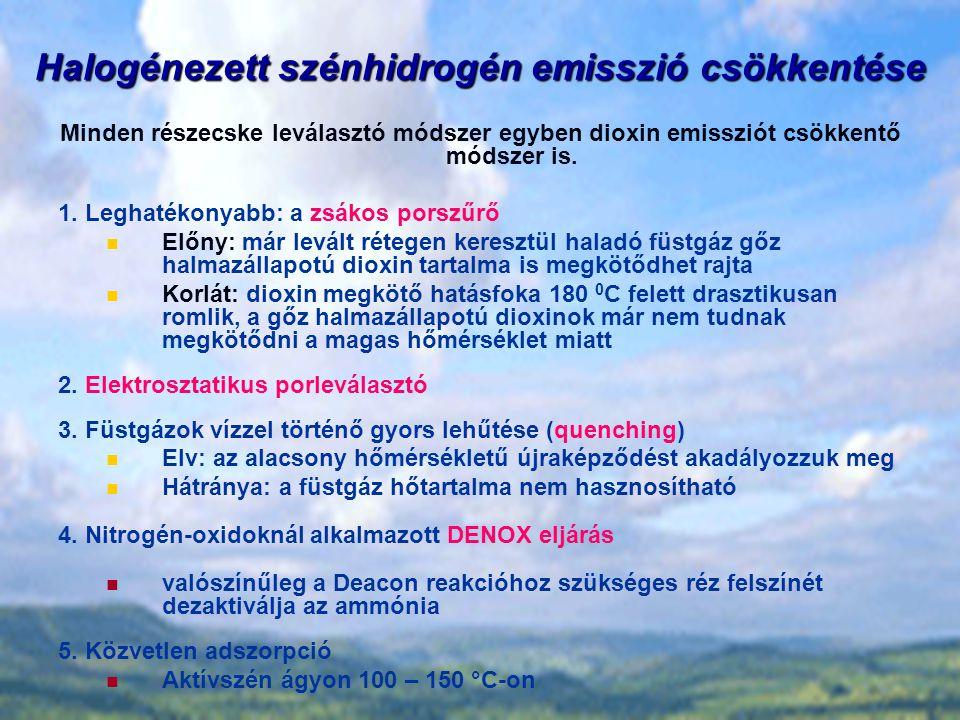 Halogénezett szénhidrogén emisszió csökkentése Minden részecske leválasztó módszer egyben dioxin emissziót csökkentő módszer is.