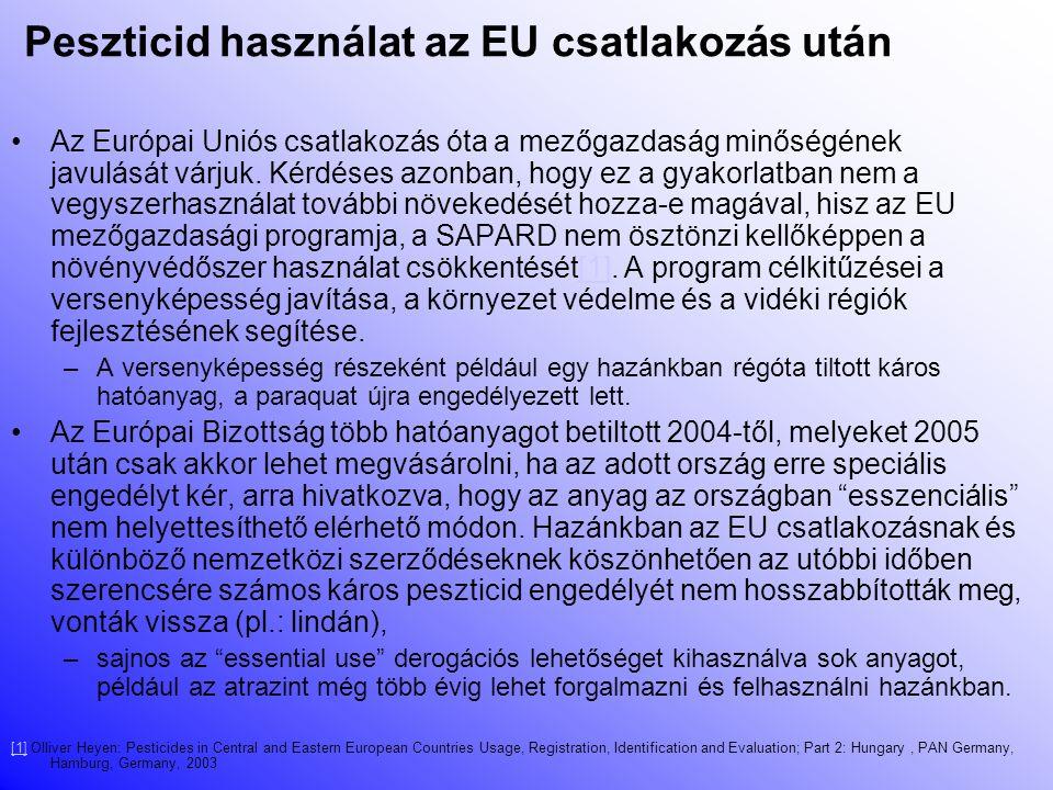 Hazai peszticidek Körülbelül 400 peszticid hatóanyag van engedélyezve hazánakban Ezekből körülbelül 80-at azonnal be kellene tiltani, ugyanis –kb.