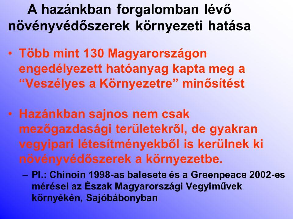 A hazánkban forgalomban lévő növényvédőszerek egészségi hatása Ma Magyarországon 219 olyan növényvédőszer hatóanyag van forgalomban, melyeket különböző okokból a WHO, az Egészségügyi Világszervezet veszélyes anyagnak minősített.