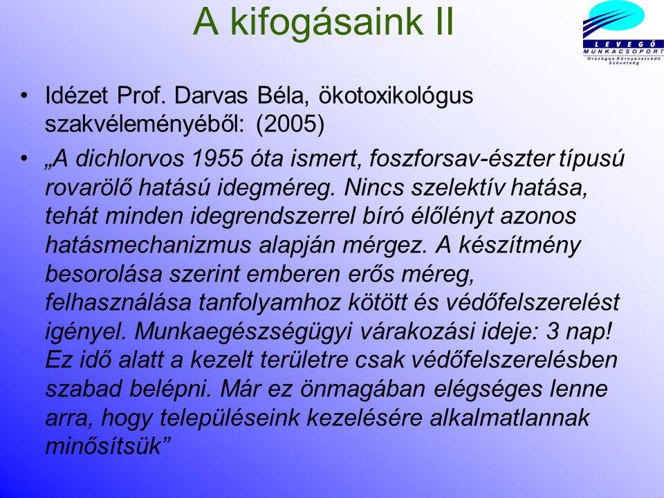 Szúnyogirtás Budapesten és több magyar város belsejében nyaranta pont egy emberre valószínűleg rákkeltő, több országban emiatt betiltott szerrel dichlorovos-sal irtották a szúnyogot, mely ellen a Levegő Munkacsoport többször tiltakozott.