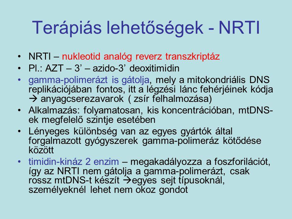 Terápiás lehetőségek - NRTI NRTI – nukleotid analóg reverz transzkriptáz Pl.: AZT – 3' – azido-3' deoxitimidin gamma-polimerázt is gátolja, mely a mit