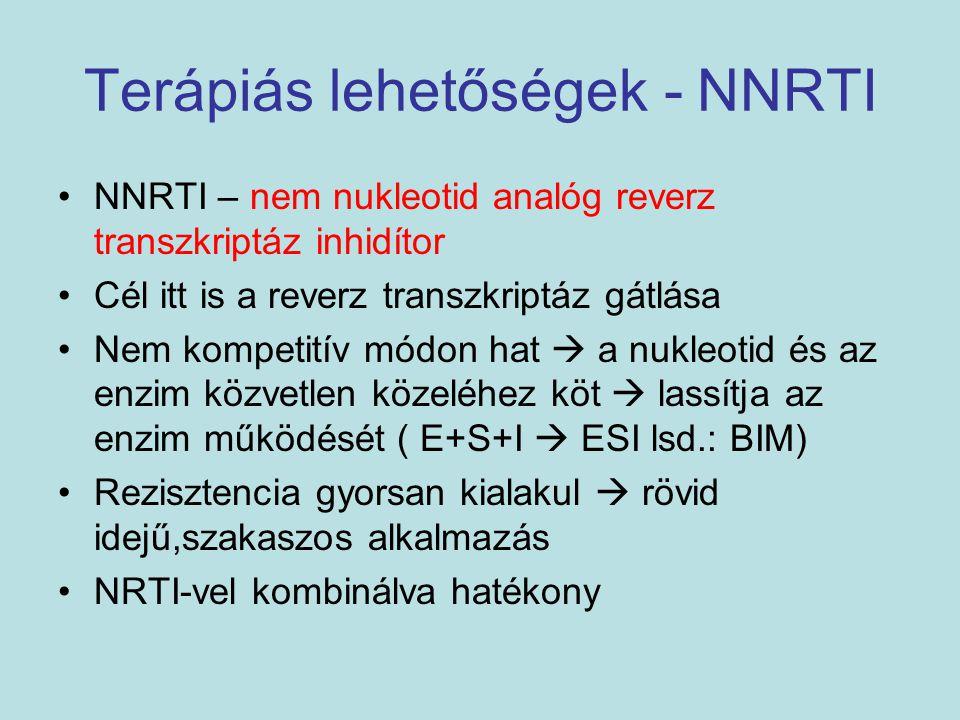 Terápiás lehetőségek - NNRTI NNRTI – nem nukleotid analóg reverz transzkriptáz inhidítor Cél itt is a reverz transzkriptáz gátlása Nem kompetitív módo