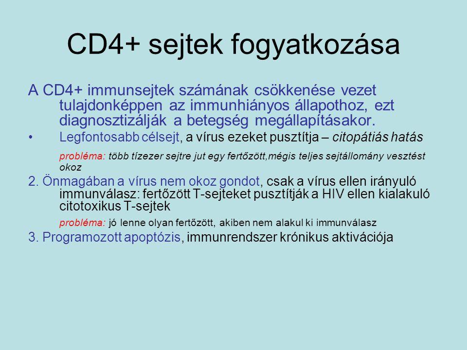 CD4+ sejtek fogyatkozása A CD4+ immunsejtek számának csökkenése vezet tulajdonképpen az immunhiányos állapothoz, ezt diagnosztizálják a betegség megál
