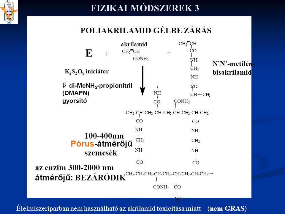 FIZIKAI MÓDSZEREK 3 az enzim 300-2000 nm átmérőjű: BEZÁRÓDIK CH 2 CONH 2 CH 2 CO NH CH 2 NH CH 2 CO CH 2 -CH 2 -CH-CH 2 2 2 2 -CH 2 -CH-CH 2 2 2 2 NH CO NH CO CH 2 CONH 2 COCONH 2 NH POLIAKRILAMID GÉLBE ZÁRÁS E + + K 2 S 2 O 8 iniciátor  di-MeNH 2 -propionitril (DMAPN) gyorsitó 100-400nm Pórus-átmérőjű szemcsék N'N'-metilén- bisakrilamid akrilamid Élelmiszeriparban nem használható az akrilamid toxicitása miatt (nem GRAS)