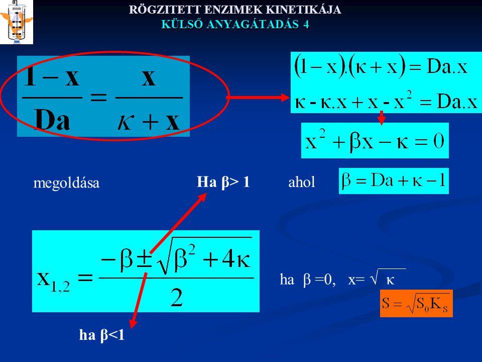 RÖGZITETT ENZIMEK KINETIKÁJA KÜLSŐ ANYAGÁTADÁS 4 ha β =0, x=  κ Ha β> 1 ha β<1 ahol megoldása