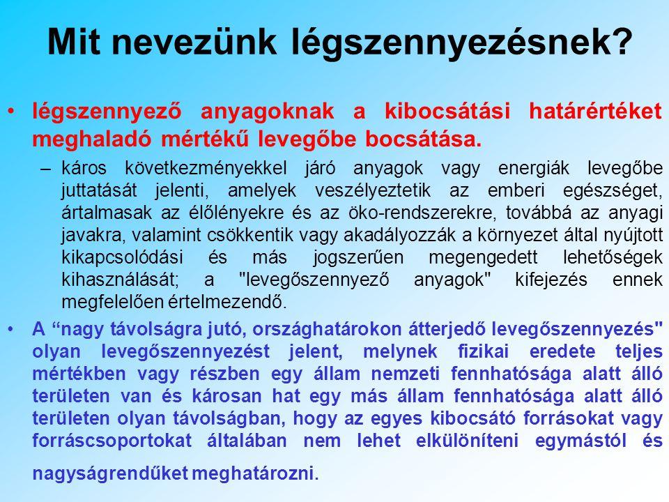 Tények A Magyarországi halálozások 15 % -a a környezet szennyezéssel kapcsolatba hozható A halál esetek 4 %-át a légszennyezés okozza