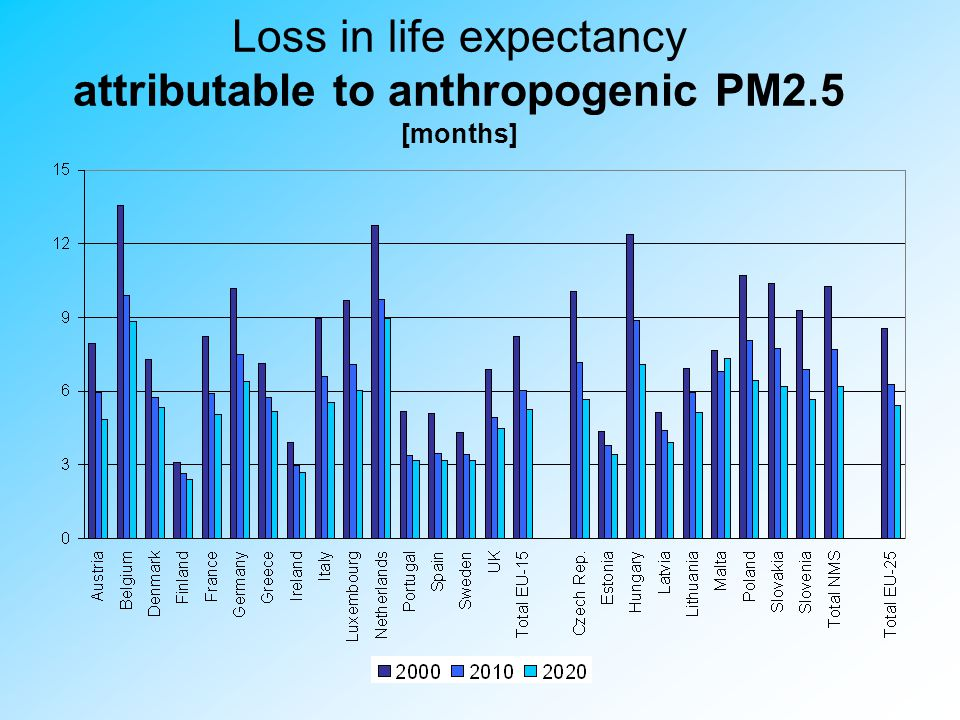Loss in life expectancy attributable to anthropogenic PM2.5 [months] Loss in average statistical life expectancy due to identified anthropogenic PM2.5