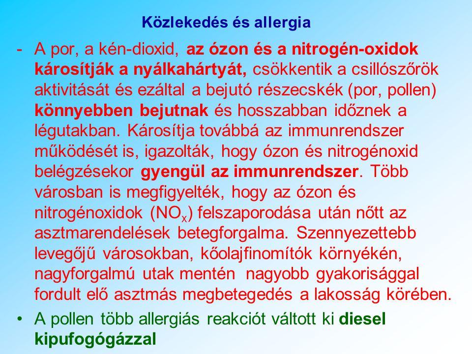 Közlekedés és allergia ØPollen terjedési mód: kerékre, cipőre tapadva jut el, ØUtak mellett, hamarabb kezd el virágozni a parlagfű, nedves talaj – pionír fajt a legnehezebb írtani, gépkocsiban ülőket terheli, feldúsul (nyitott ablak nyáron) ØA kipufogógázok felerősítik az allergén hatást, rátapadva a pollenszemekre módosítják azt, csökkentik a légzőrendszer öntisztító aktivitását, a nyálkahártya védekező mechanizmusait.