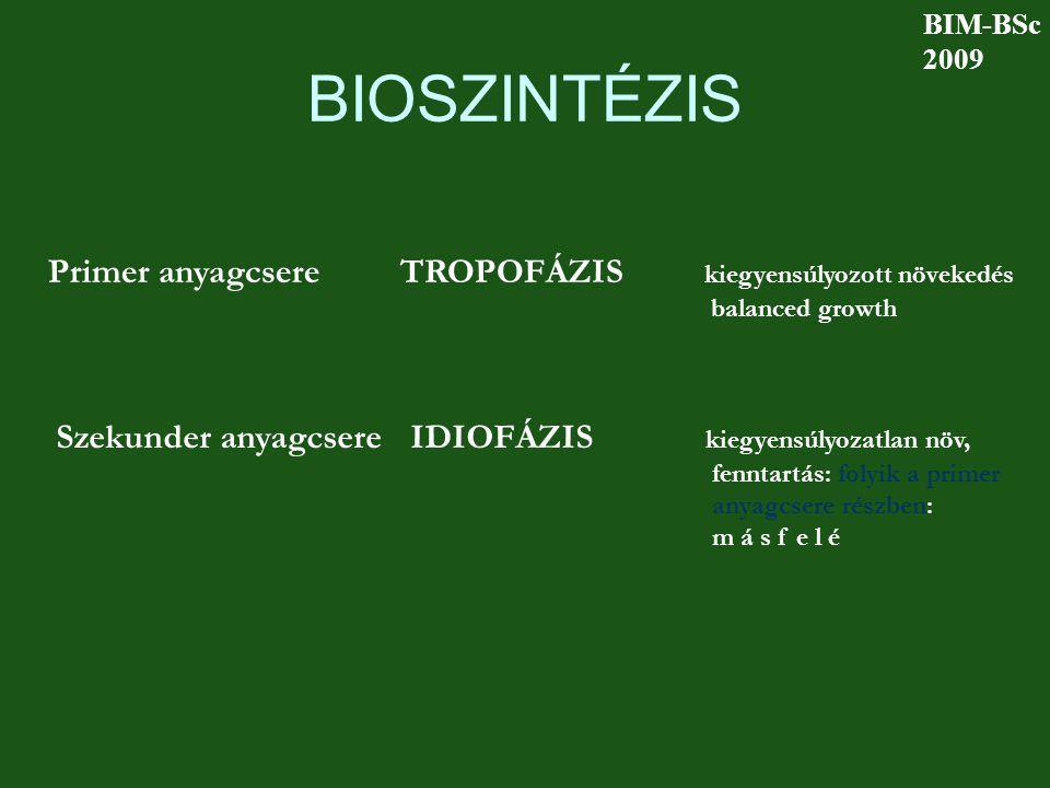 BIOSZINTÉZIS Primer anyagcsere TROPOFÁZIS kiegyensúlyozott növekedés balanced growth Szekunder anyagcsere IDIOFÁZIS kiegyensúlyozatlan növ, fenntartás