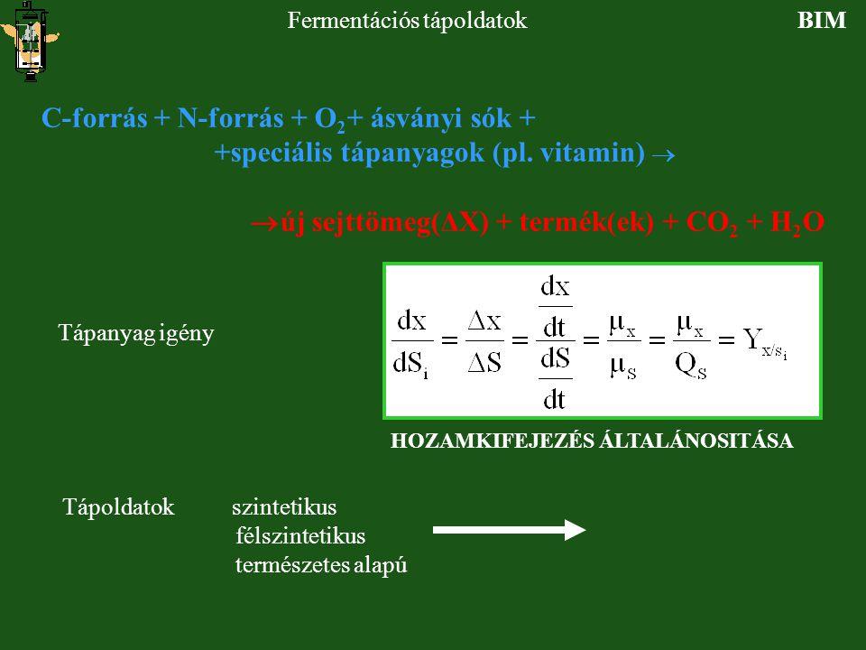 BIMFermentációs tápoldatok C-forrás + N-forrás + O 2 + ásványi sók + +speciális tápanyagok (pl. vitamin)   új sejttömeg(ΔX) + termék(ek) + CO 2 + H