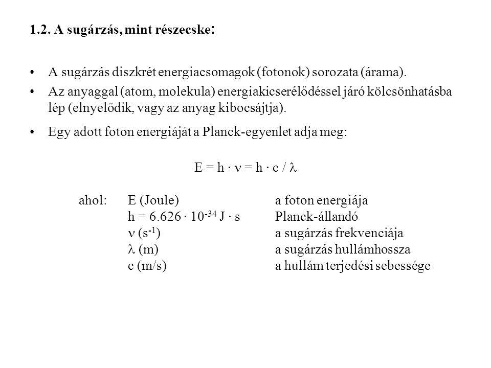 1.2. A sugárzás, mint részecske : A sugárzás diszkrét energiacsomagok (fotonok) sorozata (árama). Az anyaggal (atom, molekula) energiakicserélődéssel