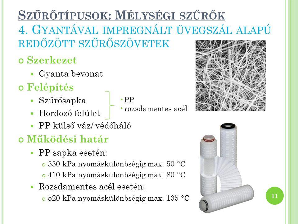 S ZŰRŐTÍPUSOK : M ÉLYSÉGI SZŰRŐK Szerkezet Gyanta bevonat Felépítés Szűrősapka Hordozó felület PP külső váz/ védőháló Működési határ PP sapka esetén: 550 kPa nyomáskülönbségig max.