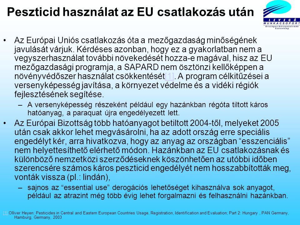 A peszticid piaci résztvevői 2001-ben Magyarországon