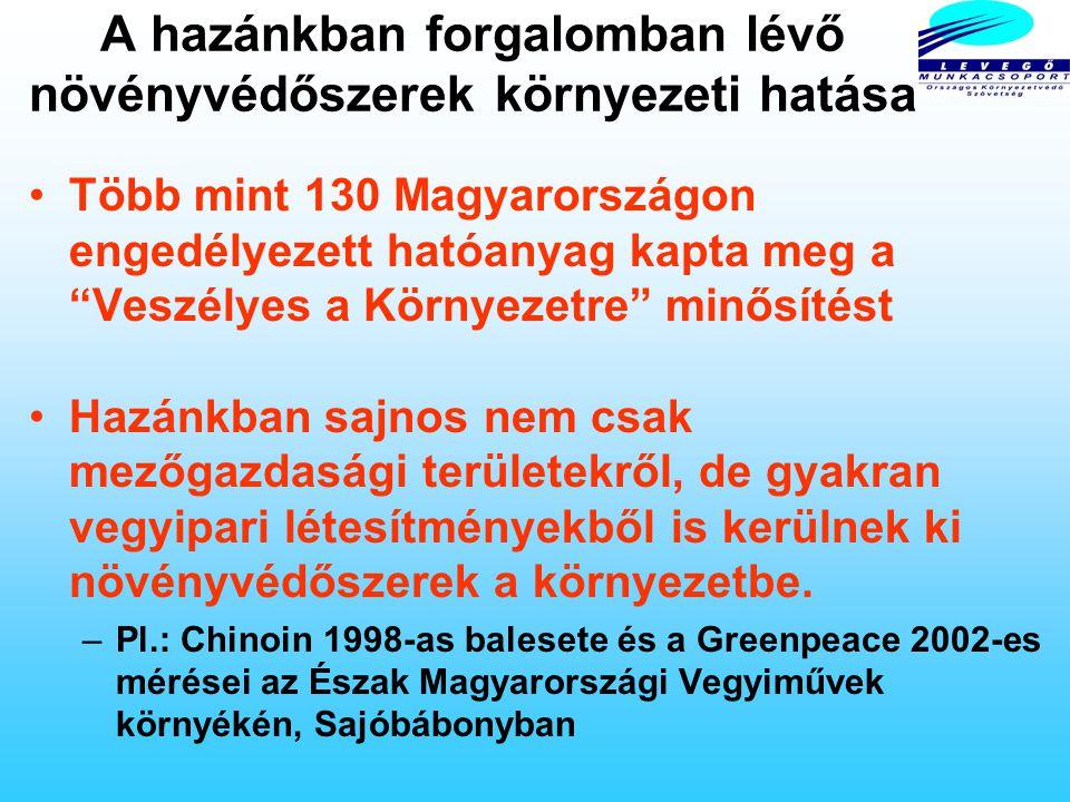 A hazánkban forgalomban lévő növényvédőszerek egészségi hatása Ma Magyarországon 219 olyan növényvédőszer hatóanyag van forgalomban, melyeket különböz