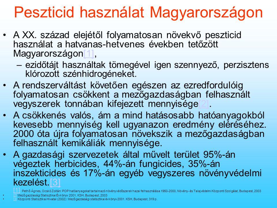 Tények és problémák A peszticid használat folyamatosan csökken Magyarországon tonnában kifejezve –hatóanyagok fejlődnek Vegyipar ellenérdekelt Mezőgaz