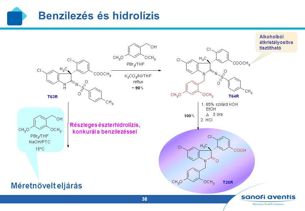 38 Méretnövelt eljárás Részleges észterhidrolízis, konkurál a benzilezéssel Benzilezés és hidrolízis Alkoholból átkristályosítva tisztítható