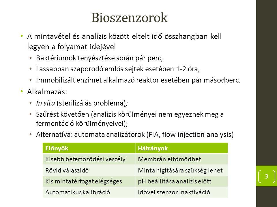 Bioszenzorok A mintavétel és analízis között eltelt idő összhangban kell legyen a folyamat idejével Baktériumok tenyésztése során pár perc, Lassabban