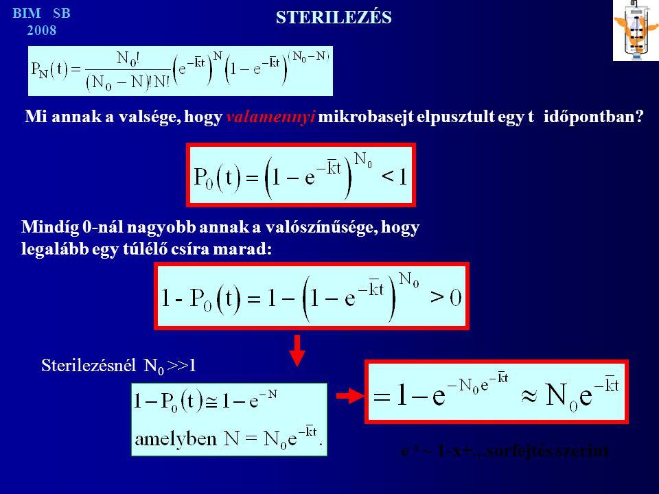 STERILEZÉS BIM SB 2008 Mi annak a valsége, hogy valamennyi mikrobasejt elpusztult egy t időpontban.