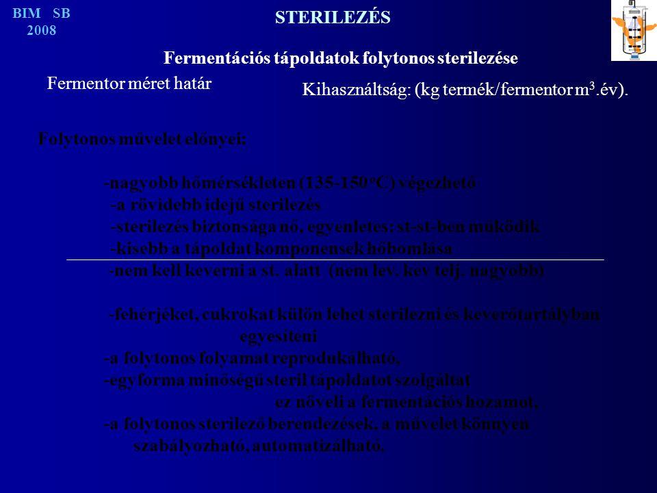 STERILEZÉS Fermentációs tápoldatok folytonos sterilezése Fermentor méret határ Kihasználtság: (kg termék/fermentor m 3.év).