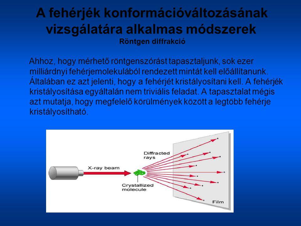 A fehérjék konformációváltozásának vizsgálatára alkalmas módszerek Röntgen diffrakció Ahhoz, hogy mérhető röntgenszórást tapasztaljunk, sok ezer milli