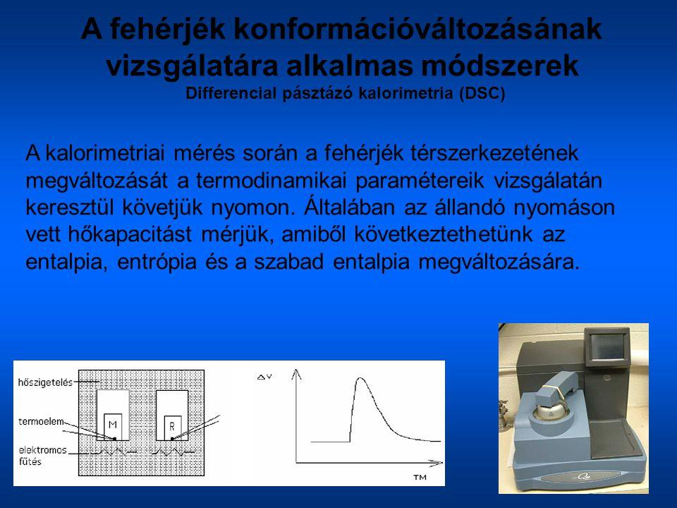 A fehérjék konformációváltozásának vizsgálatára alkalmas módszerek Differencial pásztázó kalorimetria (DSC) A kalorimetriai mérés során a fehérjék tér