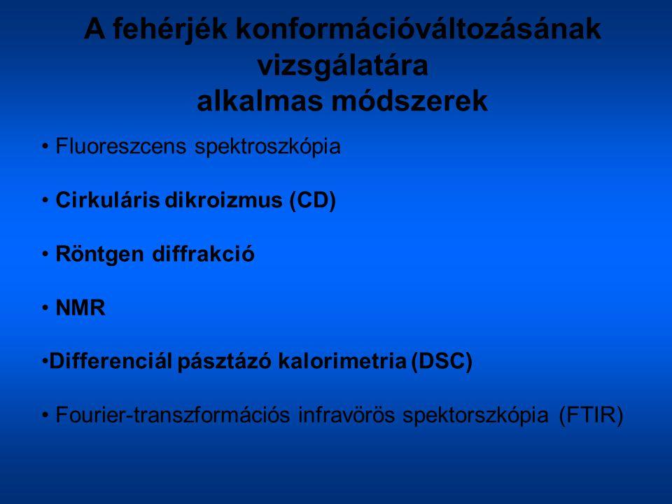 A fehérjék konformációváltozásának vizsgálatára alkalmas módszerek Fluoreszcens spektroszkópia Cirkuláris dikroizmus (CD) Röntgen diffrakció NMR Diffe