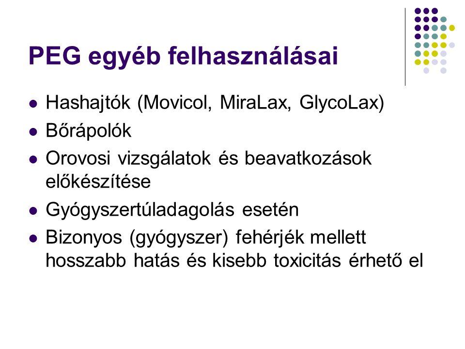PEG egyéb felhasználásai Hashajtók (Movicol, MiraLax, GlycoLax) Bőrápolók Orovosi vizsgálatok és beavatkozások előkészítése Gyógyszertúladagolás eseté