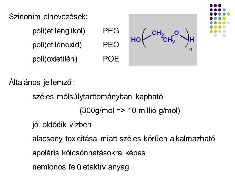 Szinonim elnevezések: poli(etilénglikol)PEG poli(etilénoxid)PEO poli(oxietilén)POE Általános jellemzői: széles mólsúlytarttományban kapható (300g/mol