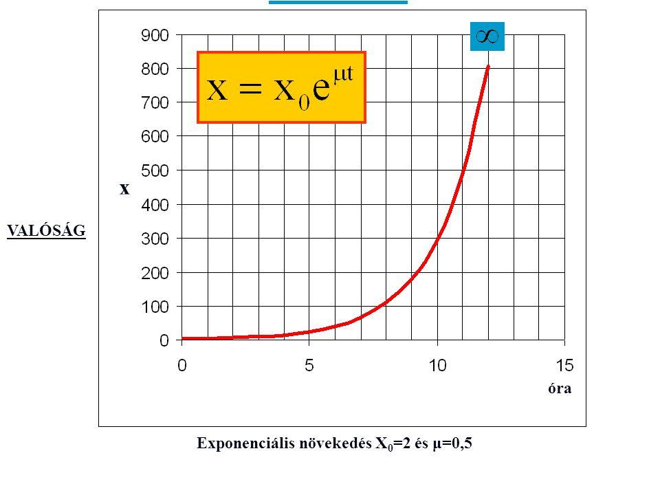 Exponenciális növekedés X 0 =2 és μ=0,5 óra x VALÓSÁG