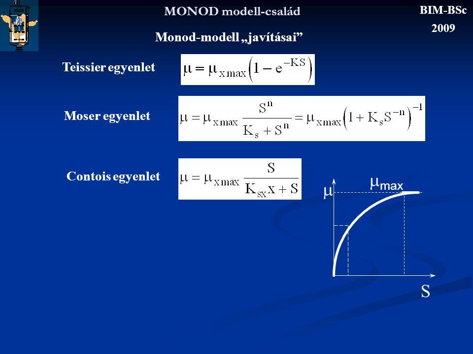 """MONOD modell-család Monod-modell """"javításai"""" Teissier egyenlet Moser egyenlet Contois egyenlet  max  S BIM-BSc 2009"""