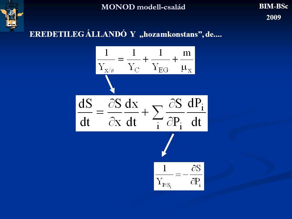 """MONOD modell-család EREDETILEG ÁLLANDÓ Y """"hozamkonstans"""", de.... BIM-BSc 2009"""