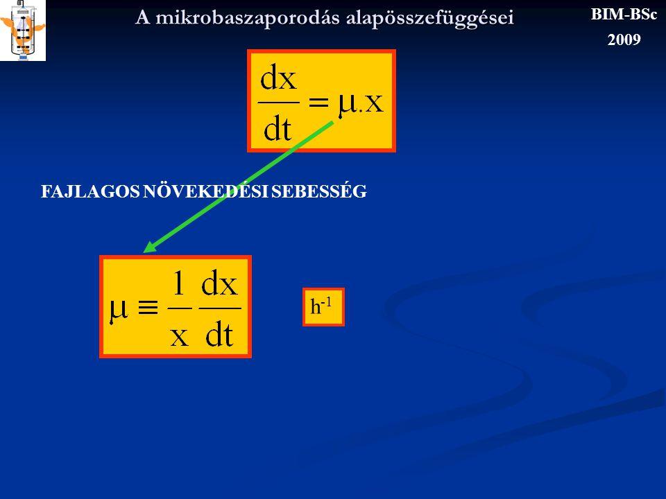 A mikroba szaporodás alapösszefüggései Ν : fajlagos szaporodási sebesség μ és a generációs idő kapcsolata: Jacques Monod BIM-BSc 2009