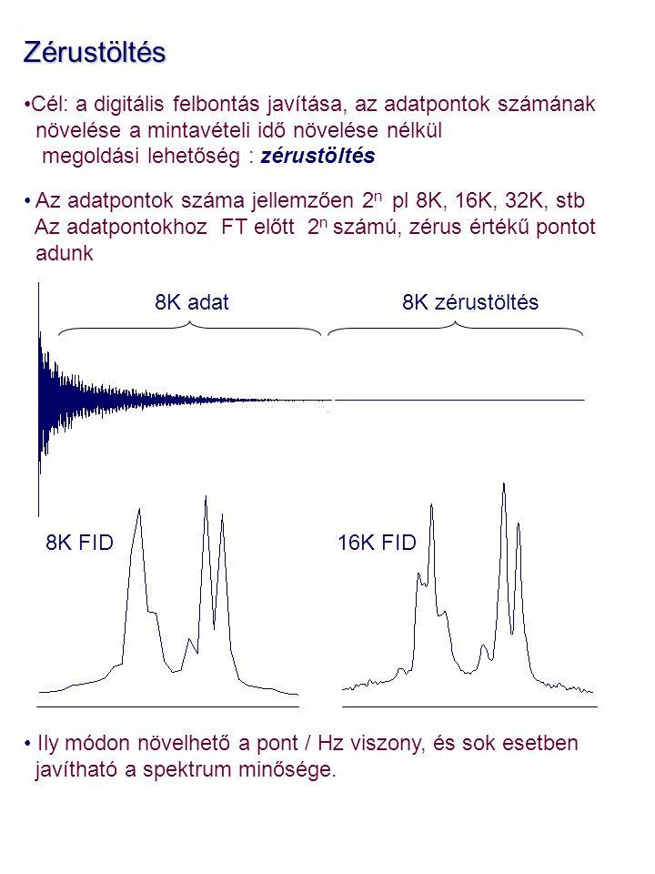 Zérustöltés Cél: a digitális felbontás javítása, az adatpontok számának növelése a mintavételi idő növelése nélkül megoldási lehetőség : zérustöltés Az adatpontok száma jellemzően 2 n pl 8K, 16K, 32K, stb Az adatpontokhoz FT előtt 2 n számú, zérus értékű pontot adunk Ily módon növelhető a pont / Hz viszony, és sok esetben javítható a spektrum minősége.