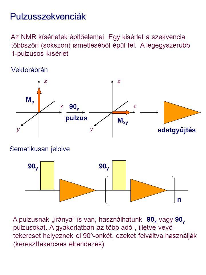 Pulzusszekvenciák Pulzusszekvenciák Az NMR kísérletek épitőelemei. Egy kisérlet a szekvencia többszöri (sokszori) ismétléséből épül fel. A legegyszerű