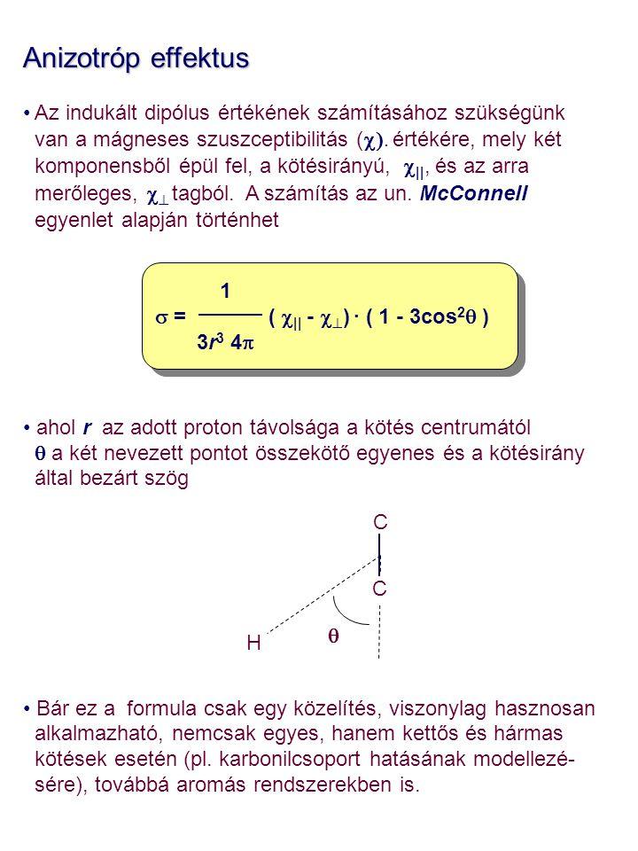 Anizotróp effektus Az indukált dipólus értékének számításához szükségünk van a mágneses szuszceptibilitás ( . értékére, mely két komponensből épül f