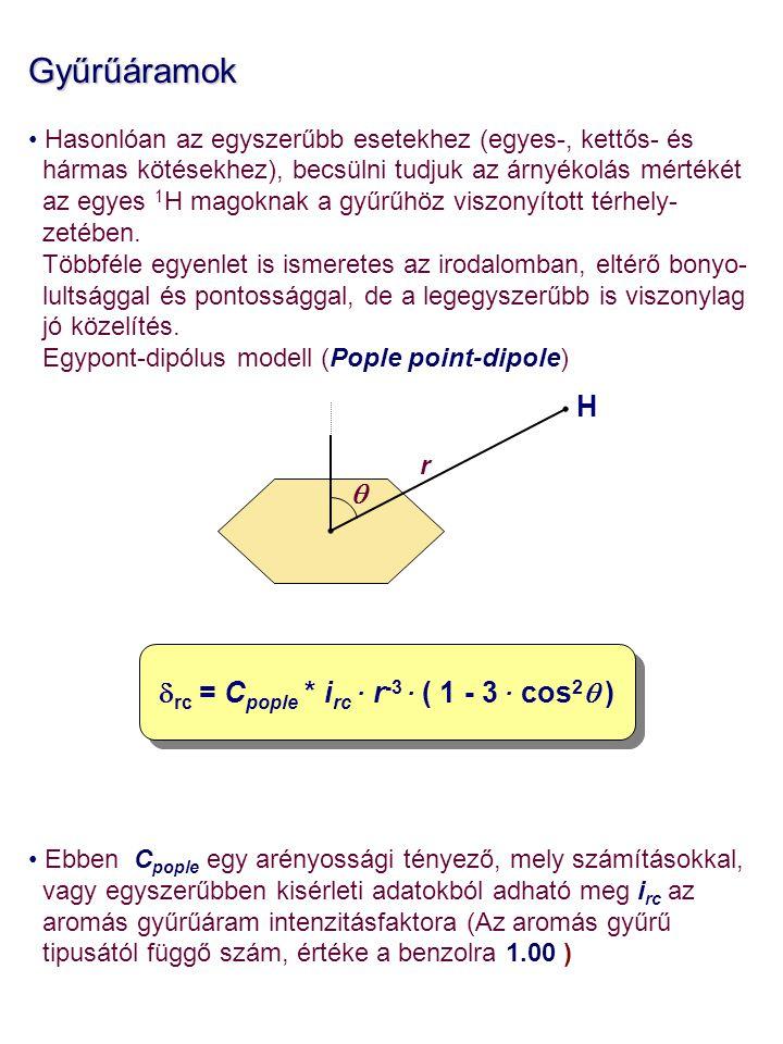 Gyűrűáramok Hasonlóan az egyszerűbb esetekhez (egyes-, kettős- és hármas kötésekhez), becsülni tudjuk az árnyékolás mértékét az egyes 1 H magoknak a gyűrűhöz viszonyított térhely- zetében.