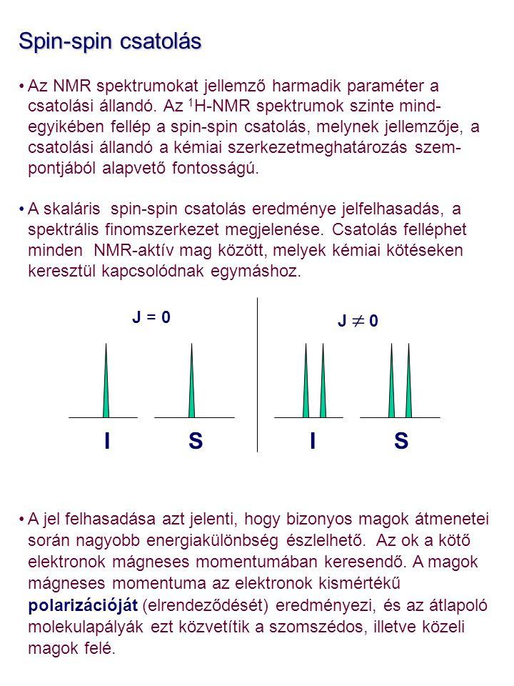 Spin-spin csatolás Az NMR spektrumokat jellemző harmadik paraméter a csatolási állandó. Az 1 H-NMR spektrumok szinte mind- egyikében fellép a spin-spi