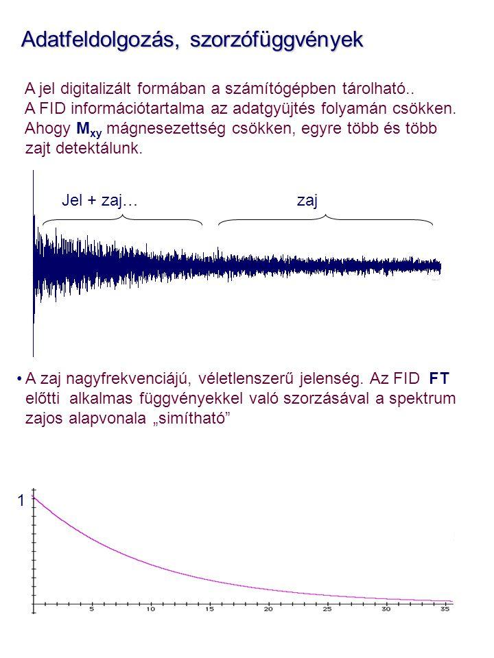 Adatfeldolgozás, szorzófüggvények Adatfeldolgozás, szorzófüggvények A jel digitalizált formában a számítógépben tárolható.. A FID információtartalma a