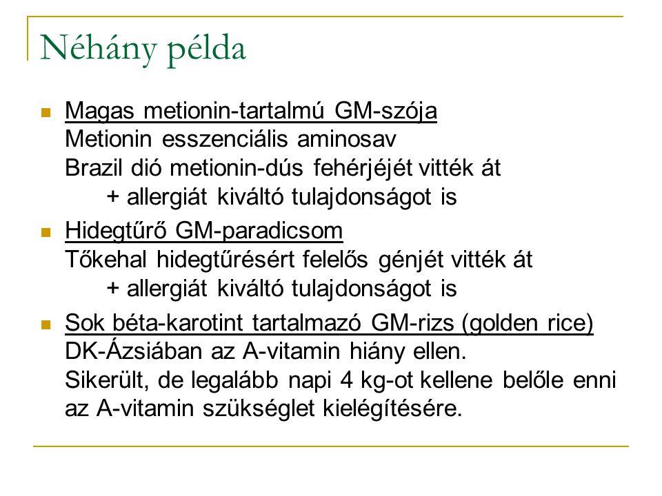 Néhány példa Magas metionin-tartalmú GM-szója Metionin esszenciális aminosav Brazil dió metionin-dús fehérjéjét vitték át + allergiát kiváltó tulajdon