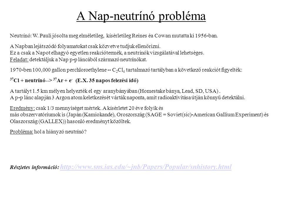 A Nap-neutrínó probléma Neutrínó: W. Pauli jósolta meg elméletileg, kísérletileg Reines éa Cowan mutatta ki 1956-ban. A Napban lejátszódó folyamatokat